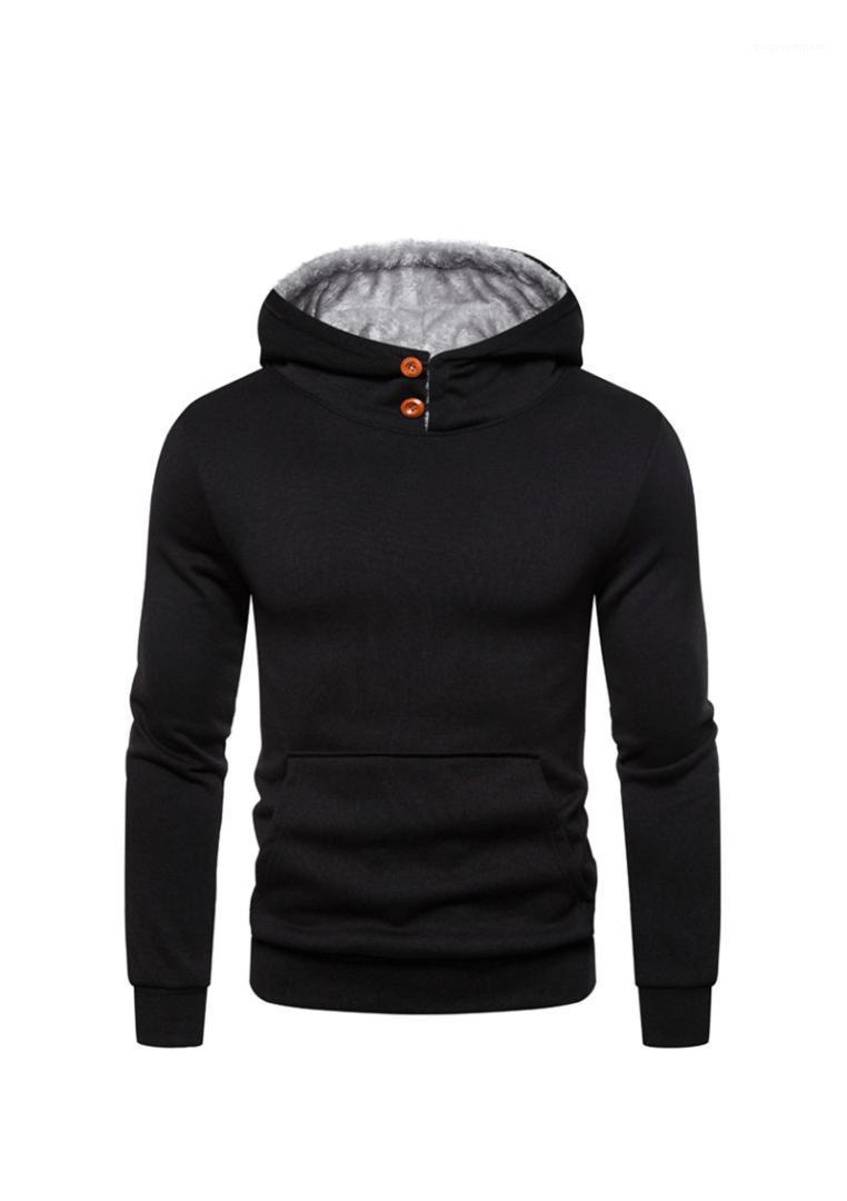 Mens Hoodies Moda capuz machos roupa sólido Mens Cor Designer Hoodies Botão Casual Decoração Big bolso