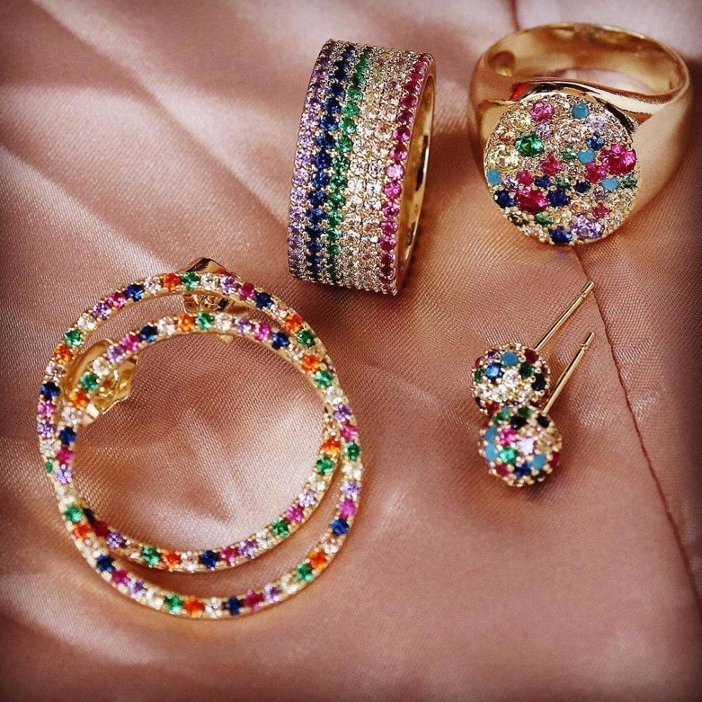 Super glänzende Mode Regenbogen-Ohrringe Rose Gold Farbe Mikro pflaster Coloful Cz Tropfen große Kreise Fancy Frauen-runder Ohrschmuck New Y19050901