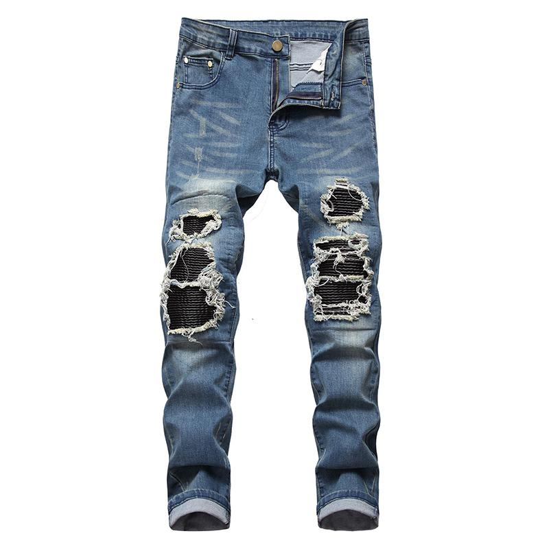 patchwork in pelle PU Sokotoo uomo strappato i jeans biker Streetwear pieghe matita denim stretch pantaloni blu nero