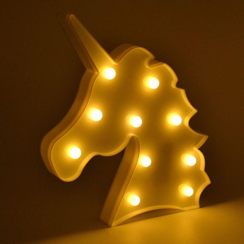 Unicornio LED luci notturne Unicorn Party 3D LED Lampada da tavolo Lampada da tavolo Novità Animale Marchezza Segno Lettera Lampada Luminaria Baby Bambini