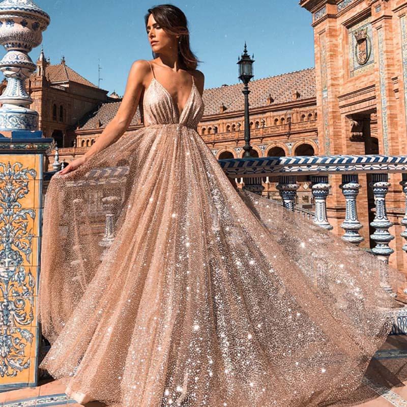 Sexy col V bretelles Maxi robe femme élégante maille Robes d'été Nuit Haute Partie Qualité Robe vestidos de fiesta de Noche