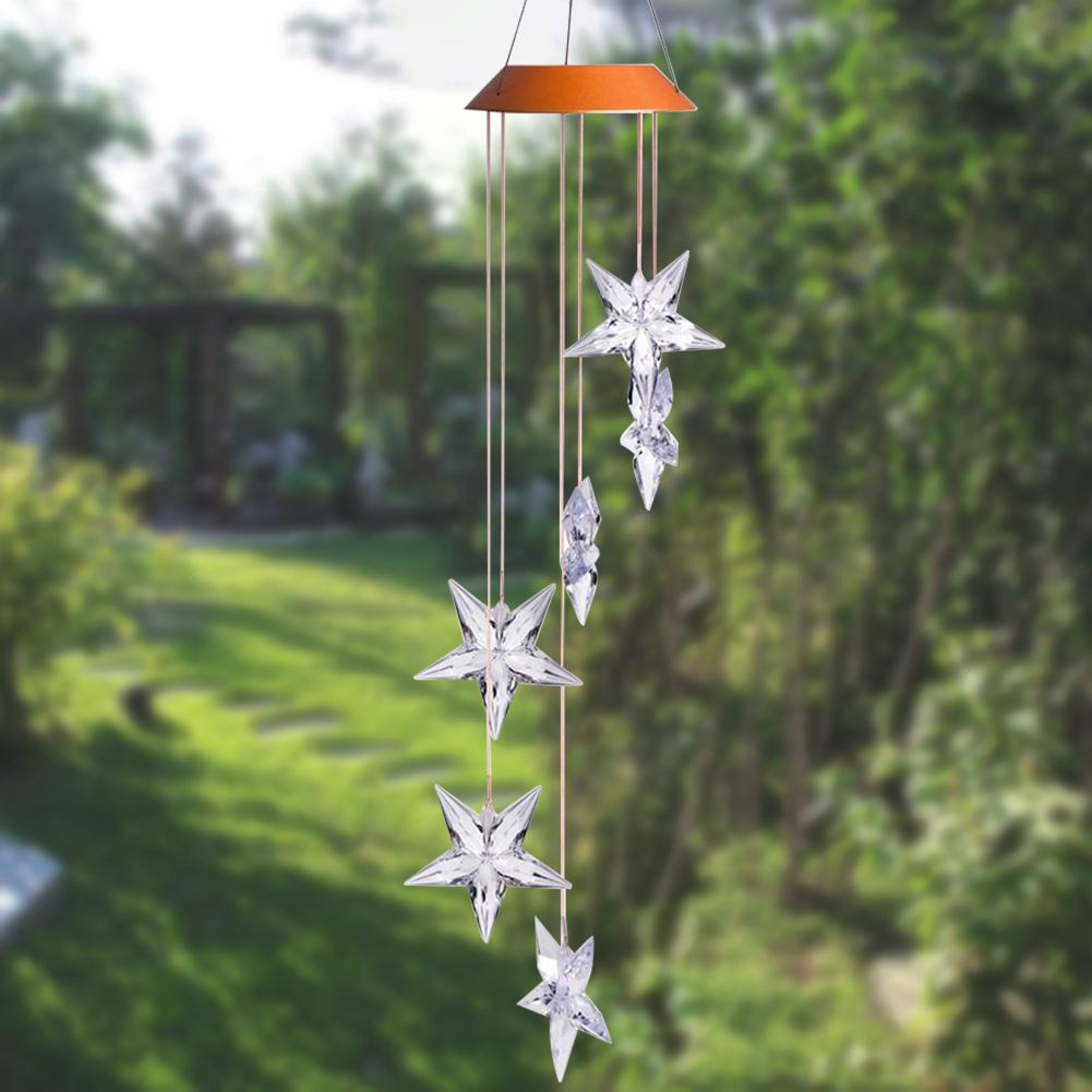 Outdoor Mobile Lamp Waterproof Garden Solar Powered Decorative Plastic Hanging Led Wind Chime Light Color Changing Spiral