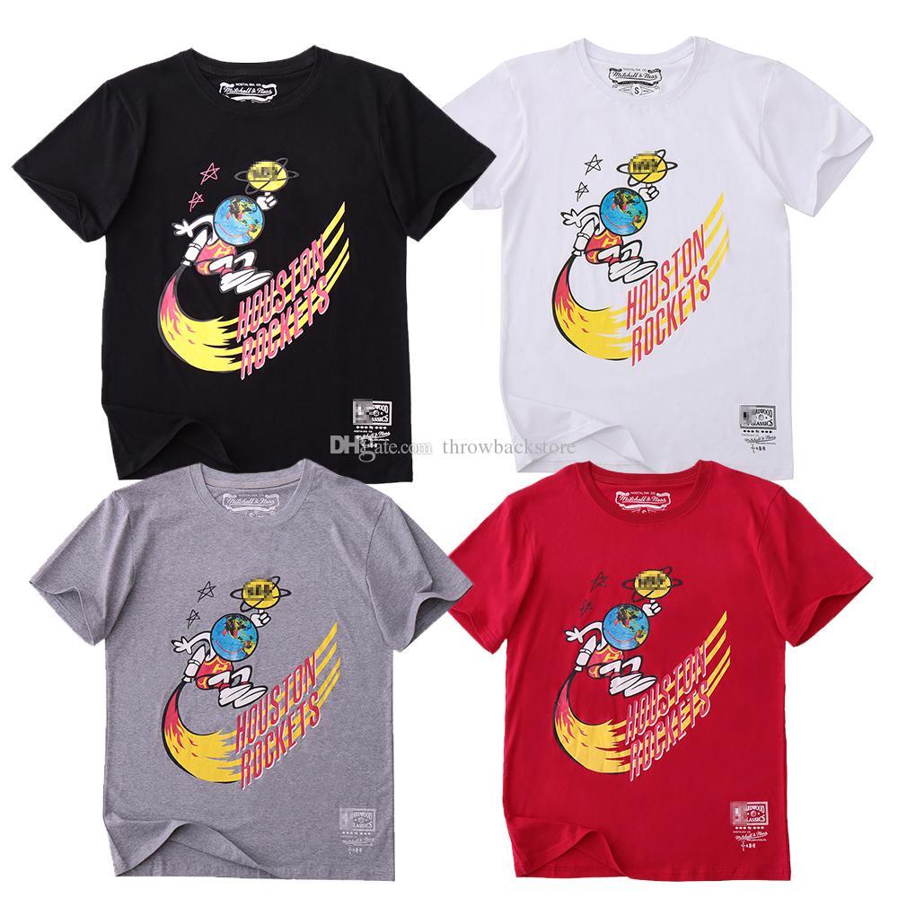 Travis Scott X Mitchell Ness Houston Remixes Campaign Fashion T-Shirt White Black Gray Red 2019 T