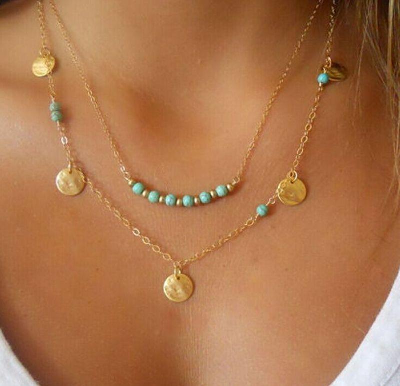 Colar da menina Mulheres Fanrar moda jóias de várias camadas Cadeia Bohemian Colar de Ouro Cor Rodada pingente círculo verde frisada