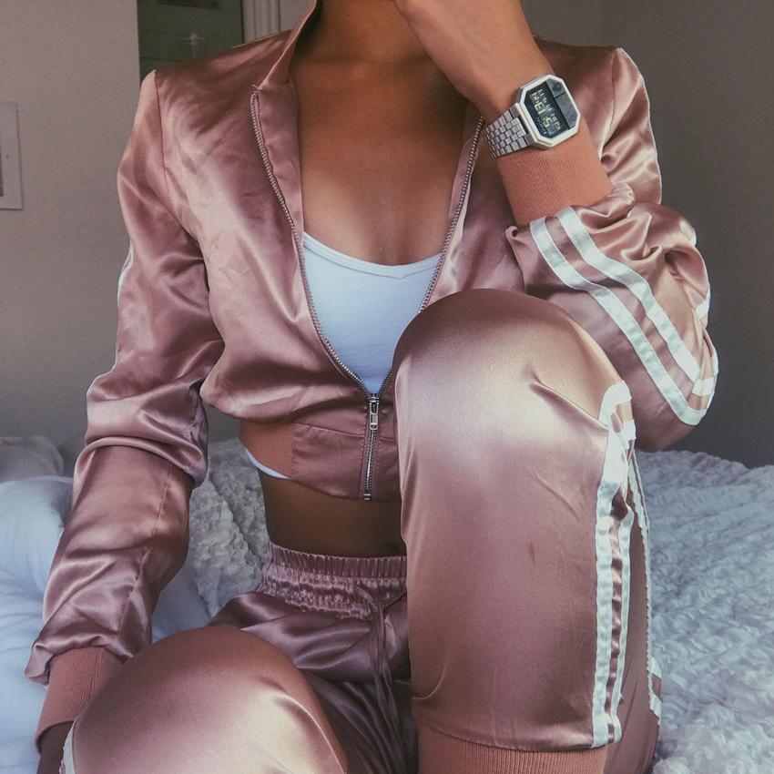 Frauen Anzug Zipper Hoodies Sweatshirt und Hose 2 Stück Set Mode Weibliche geerntete Top Pullover und Hose Anzug Groß