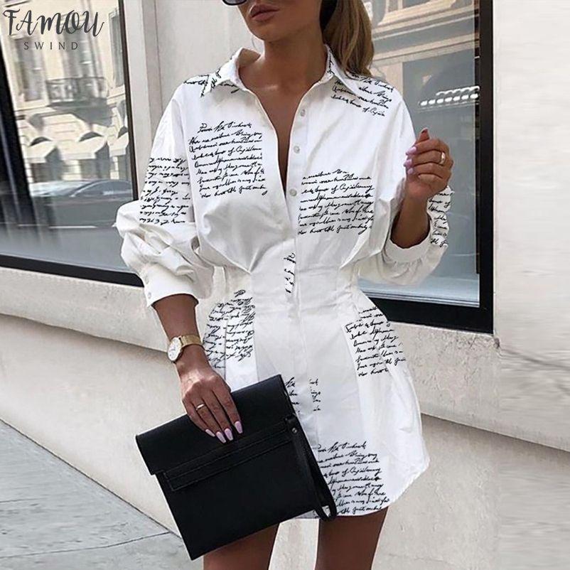 2020 Moda Outono Mulheres Impresso Vestido camisa Longo Puff luva de abertura de cama Collar Vestido Lady escritório definidos cintura mini vestido