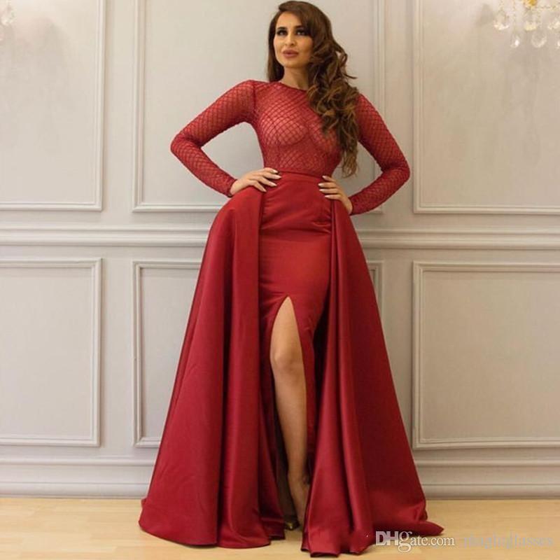Dubai árabe elegante sereia vestidos de baile com trem destacável jóia rosa mangas compridas lado lado split vestido de noite vestido formal ogstuff