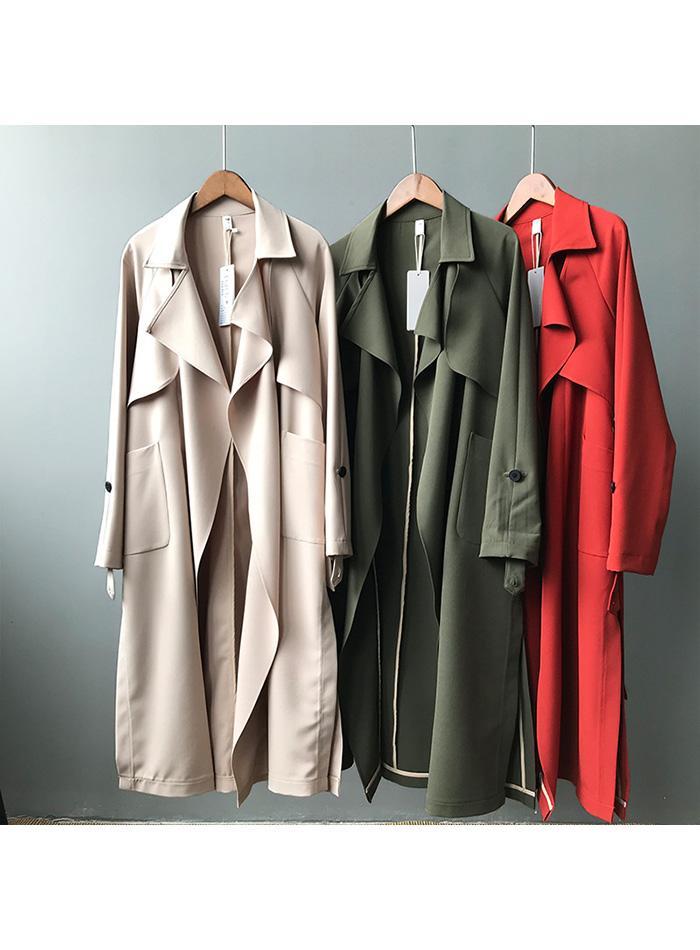 2020 새로운 겉옷 여성 트렌치 코트 벨트 트렌치 무릎 길이 패션 비대칭 하이 스트리트 코트 슬림 웨이스트 캐주얼 트렌치 미디 레드