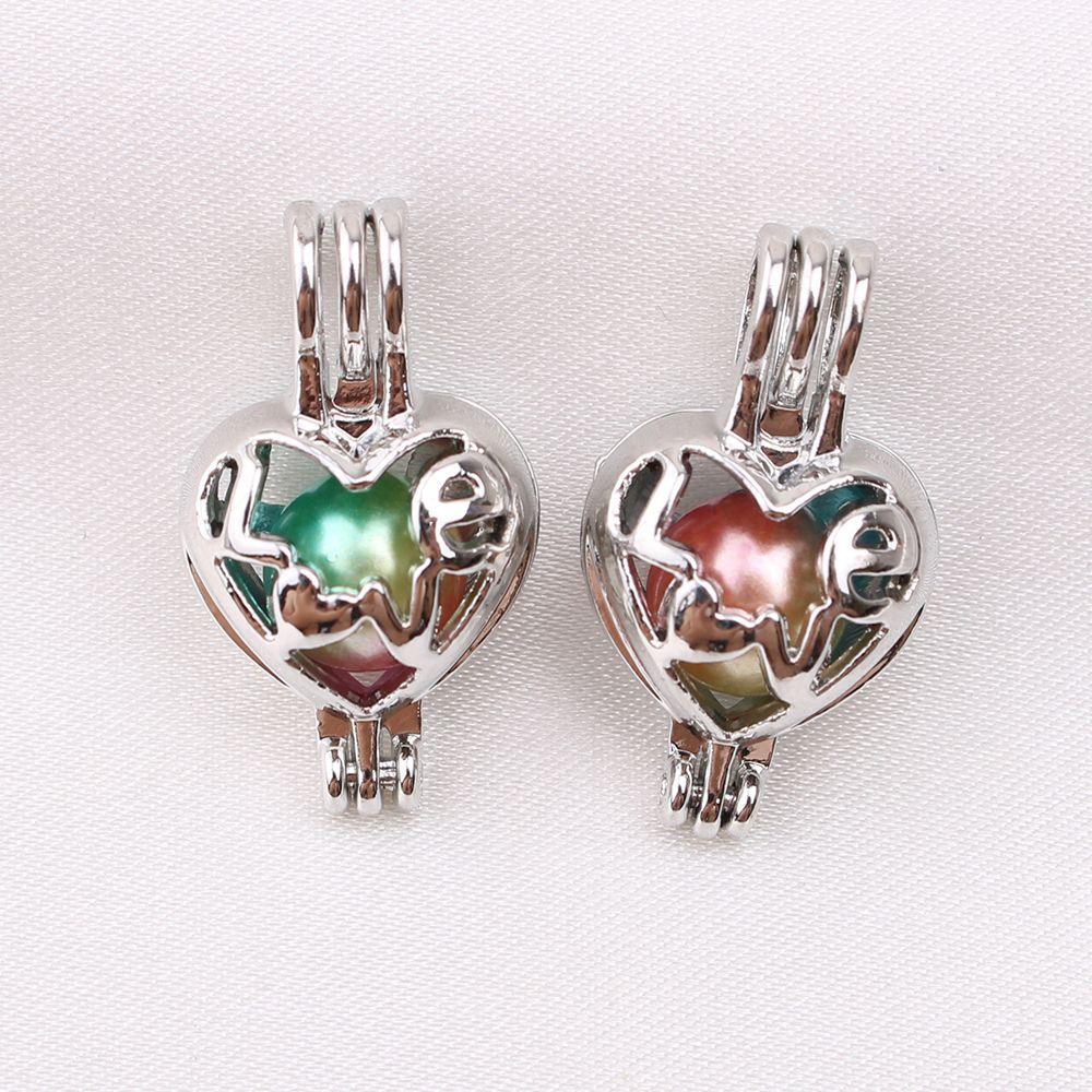 10 unids Mini Amor Corazón Oyster Pearl Cage Perfume Difusor de Aceite de La Jaula Medallones Collar Colgante de Joyería de Los Encantos