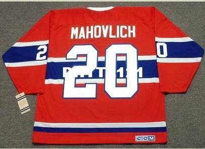 Hombres # 20 PETER MAHOVLICH Montreal Canadiens 1973 CCM Vintage RETRO Hockey Jersey o cualquier nombre o número retro Jersey personalizado