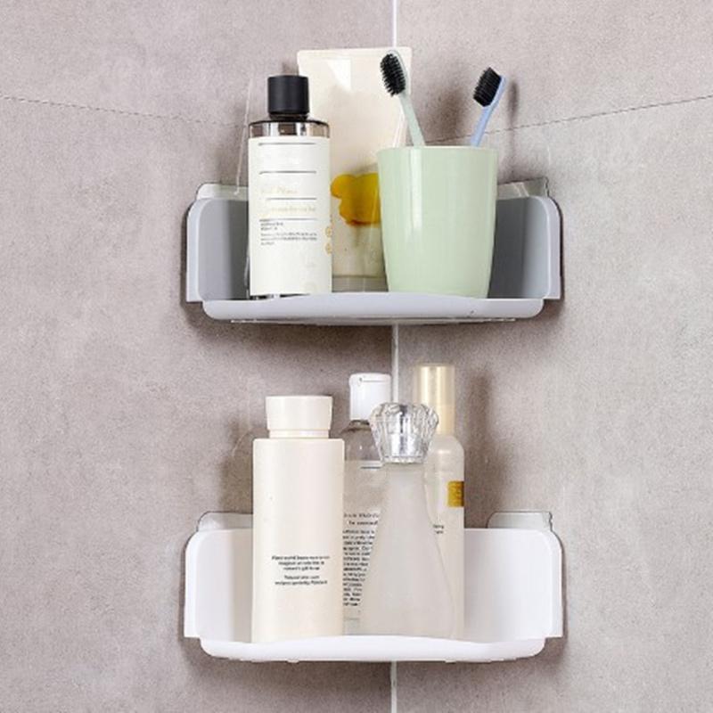 Wall-mounted Plastic Bathroom Lotion Shampoo Shelf Soap Toothbrush Holder Storage Rack Shower Organizer