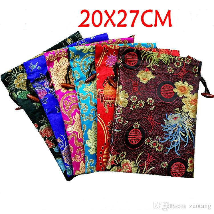 Extra Large Bright Floral Silk Favor Bags Christmas Wedding Party Gift Packaging Bags Drawstring Brocade Fabric Storage Pouch 20x27cm 10pcs/
