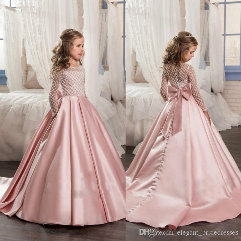 2020 Sevimli Gülpembe Kız Yarışması Elbise Uzun Kollu Mücevher Boyun Big Bow Knot Boncuklu Kat Uzunluk Örgün Elbise Çiçek Kız Elbise