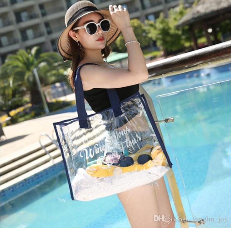 Summer Travel Swimming Transparent Beach Bag Shoulder Waterproof Swimwear Storage Bag Portable Wash Bag Large