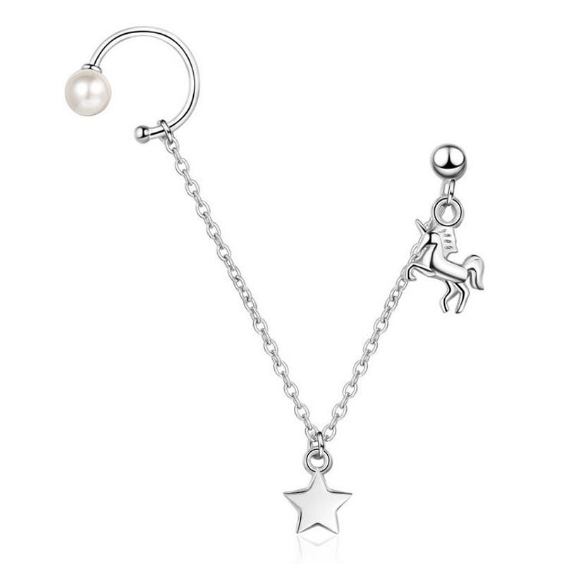 2019 New 925 Silver Pearl Star Unicorn Ear Cuff Clip Chain Tassel