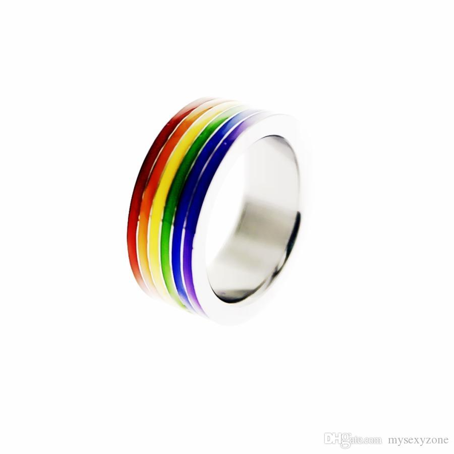 Гордость Гланс кольца гей кольца головка из нержавеющей стали гей-прайд Радужный остановить преждевременное семяизвержение эрекции клетки Радуга кольцо пениса