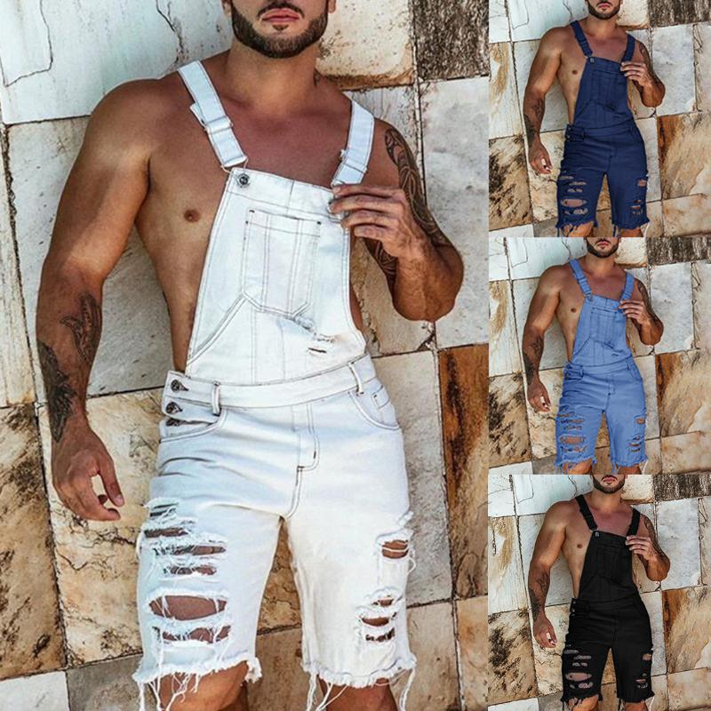 Puimentiua 2020 Fashion Plus Size Summer Men's Overalls Solid Color Ripped Denim Shorts Slim Fit Overalls Casual Pants