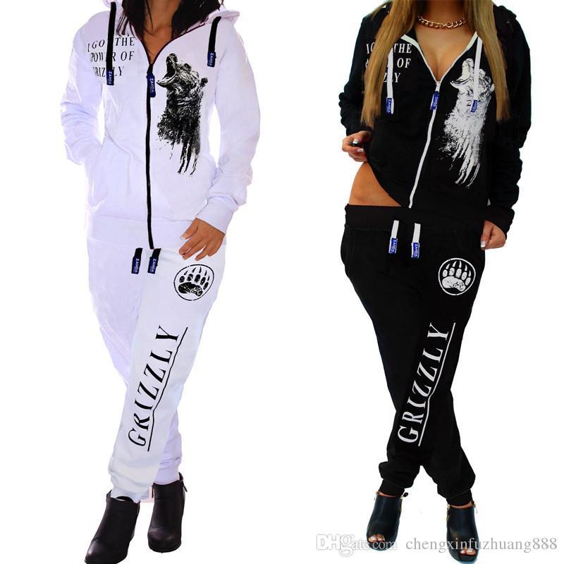 Hot Sale Women Fashion sexy Sports Suit Pants Hoodies Set Hooded Long Sleeve Zipper Sweater Sweatshirt Trousers Leggings colour Tracksuit Vs