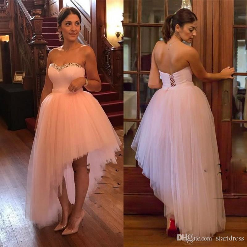 New Arrival Cute Pink High Low prom dresses Long A-Line Sweetheart Beads Tulle Bandage Simple Short Front Long Back Formal Evening Gowns