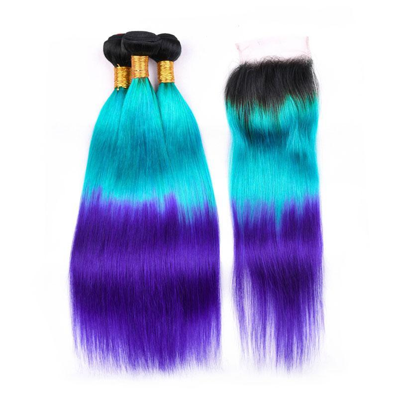 Silanda Hair Ombre #t 1b / الضوء الأزرق / الأزرق مستقيم ريمي الشعر الإنسان لحمة 3 حزم مع 4x4 الدانتيل إغلاق شحن مجاني