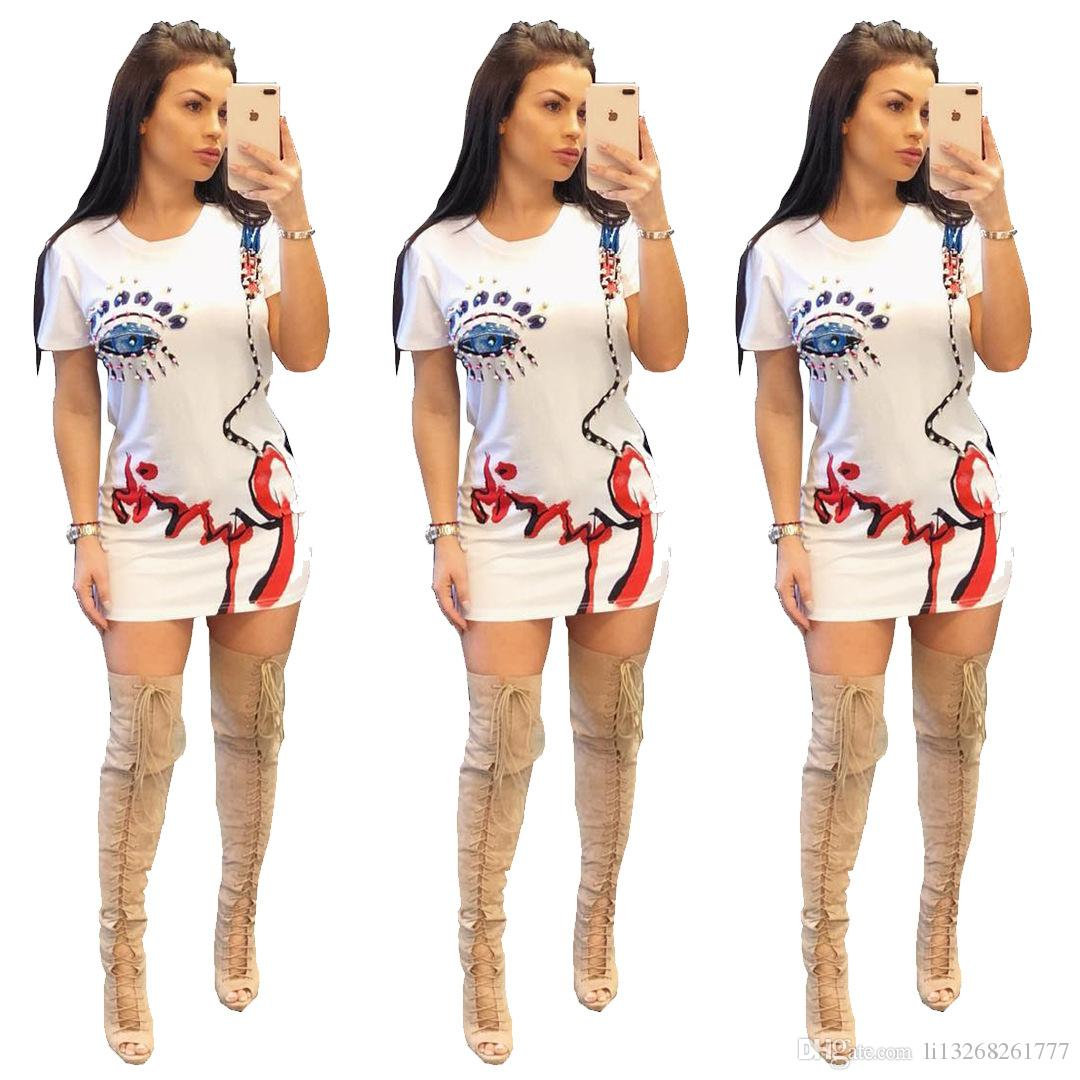 Eyes Pattern Diamonds T Shirt Dress Casual Summer Woman O Neck Short Sleeve Above-Knee Fashion Lady Mini Dress Party Dresses Bodycon Dresses