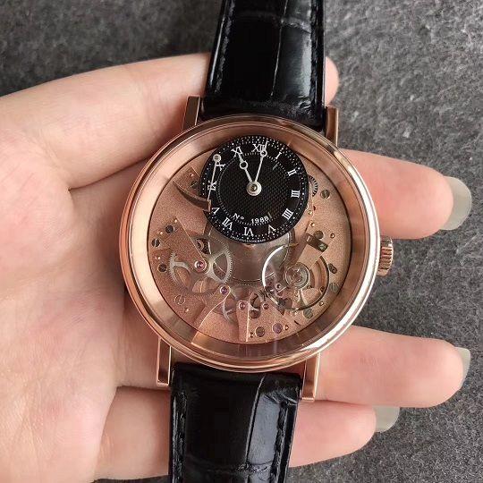 40 mm mecánico automático para hombres reloj de pulsera Tradition 7057 7057BR / R9 / 9W6 Mejor QUALITTY Skeleton Dial genuino correa de cuero A507