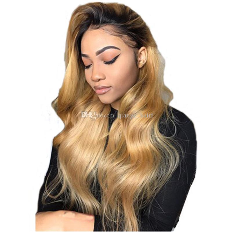 150 밀도 옹 브르 꿀 금발 색깔 1B 27 두꺼운 글루리스 (glueless) 전체 레이스 인간의 머리 가발 브라질 바디 물결 모양의 레이스 프런트 가발