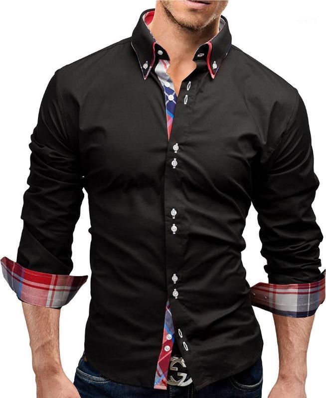 브랜드 2017 패션 남성 셔츠 긴 소매 더블 칼라 비즈니스 셔츠 남성 드레스 셔츠 슬림 남성 3XL1 탑