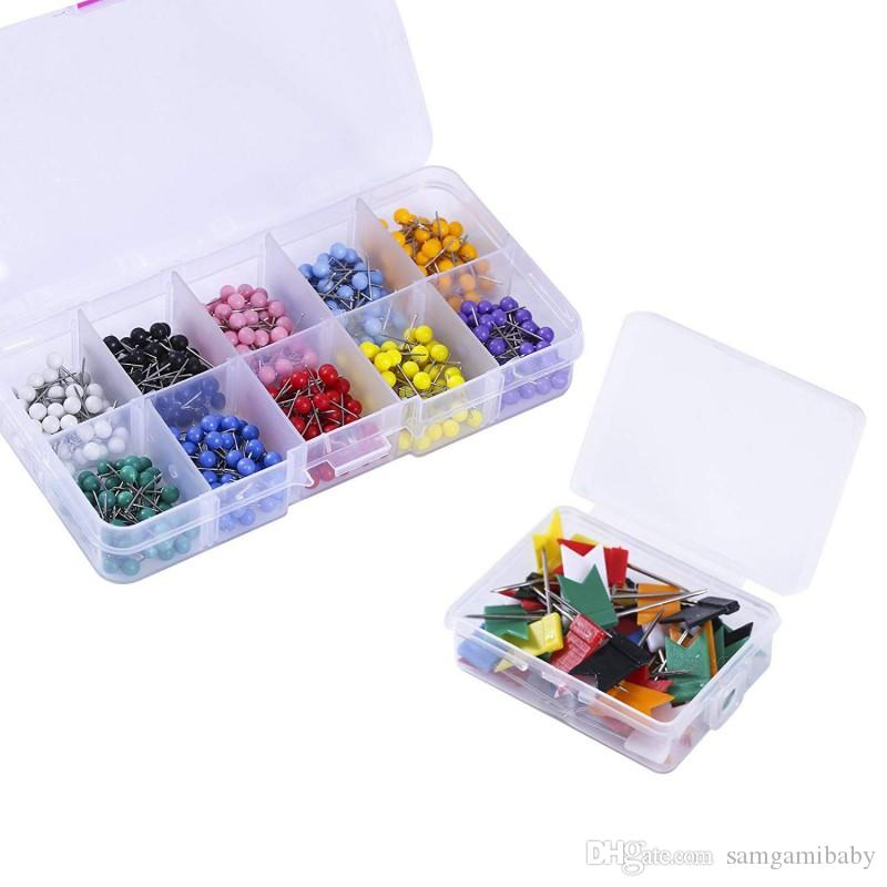 650 Pcs Colorful Map Push Pins Thumb Tacks,600Pcs Round Head map Tacks,50 Pcs Flag map Push pins for Bulletin Board