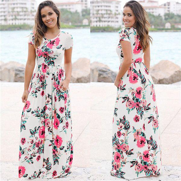 2019 neue populäre Damenmode Europäische und Amerikanische Mode Sommerkleider mit Pocket Flower Printed Dresses