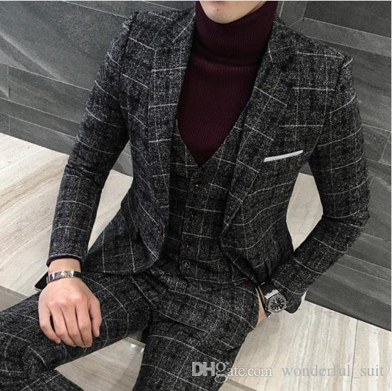 3 Pièces 2019 Costumes Hommes British New Style Designs noir Hommes Costume Automne Hiver Gros Slim Fit Plaid Robe de mariée Smokings