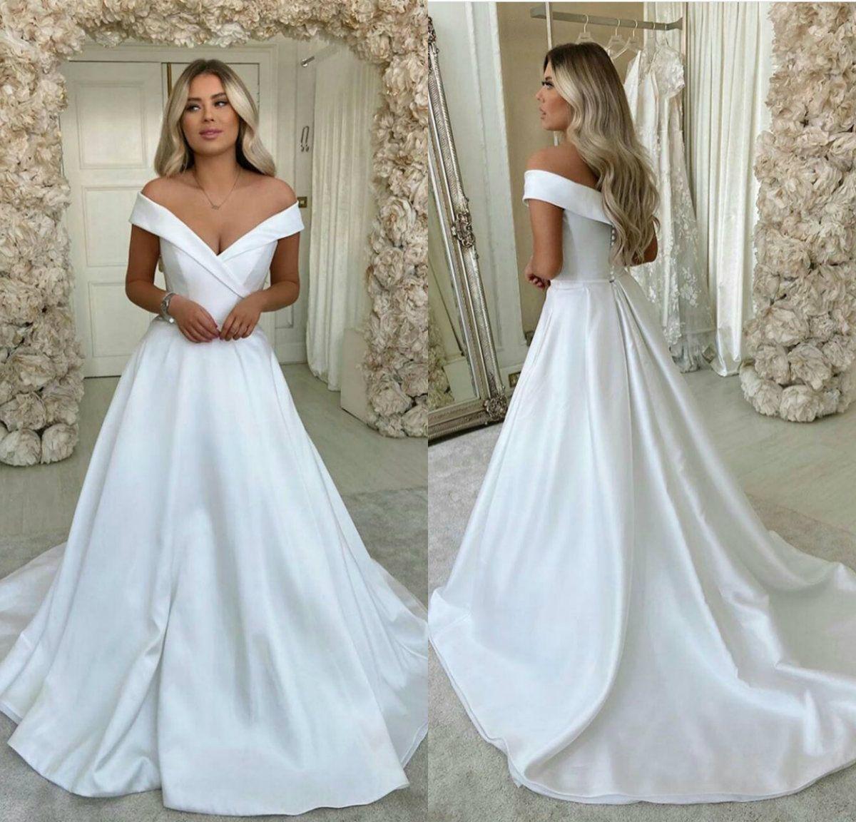 New Cheap Wedding Dresses Satin A Line Custom Made Beach Robes De Mariée Custom Made Plus Size Boho Bridal Gowns