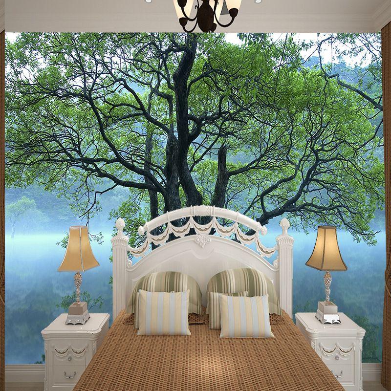 настенные росписи большой зеленый дерево дизайн фото большая фреска обои украшения спальни печати обои шелк высокой четкости вид стены фреска