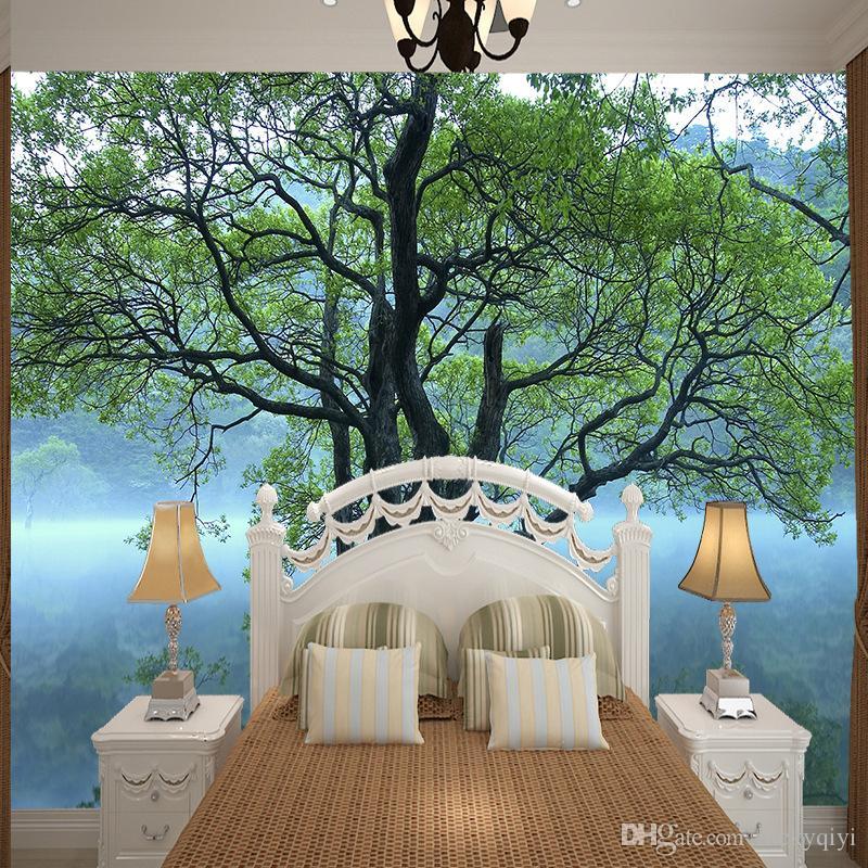 duvar resimleri büyük yeşil ağaç tasarım fotoğraf büyük duvar kağıdı yatak odası dekorasyonu yazdırılabilir duvar kağıdı ipek yüksek çözünürlüklü görünümü duvar duvar
