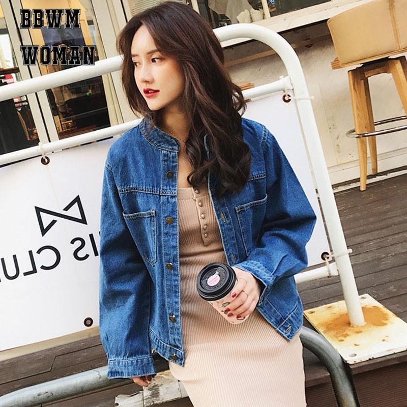Mujeres chaqueta vaquera Bf estilo suelto de manga larga Casual bolsillo de la chaqueta de los pantalones vaqueros otoño coreana de vestir exteriores abrigos bm