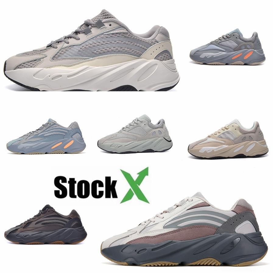 2020 700 Vanta Runner Mens Kanye West Geode Статической Сиреневый волна Женщина Спортивная Инерция Og Сплошная Серая обуви Спорт Кроссовки 36-46 # QA413