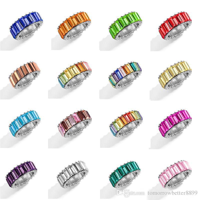 Regalos de la joyería del banquete de boda de plata plateada nuevo de la manera del anillo de oro de la CZ colorido pavimentada circón anillo para los anillos Declaración de la Mujer