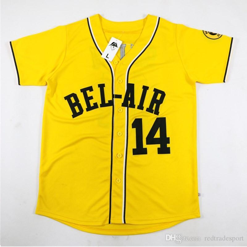 Hombres baratos El príncipe fresco de Bel-Air Academy Jerseys Will Smith Béisbol Jerseys El Sandlot Negro Gris Blanco cosido Shir