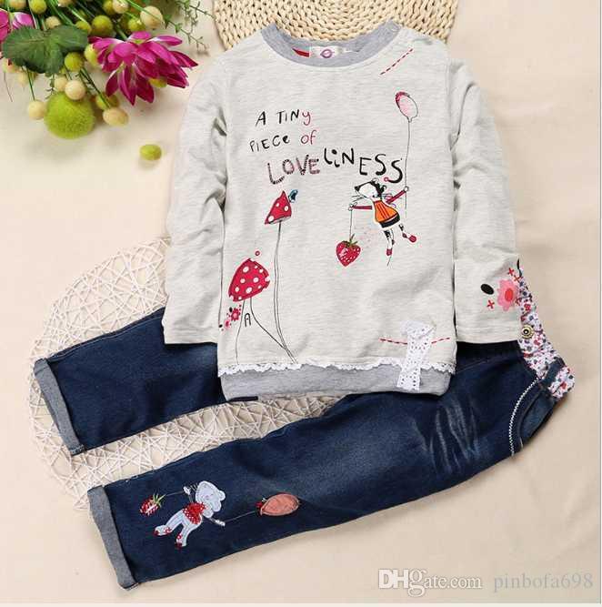 2020 Erkek Bebek Kız Giyim Moda Çocuk tişört pantolon 2adet / Bebek Pamuk Çocuk Giyim Seti Bebek Karikatür eşofman Takımlar ayarlar