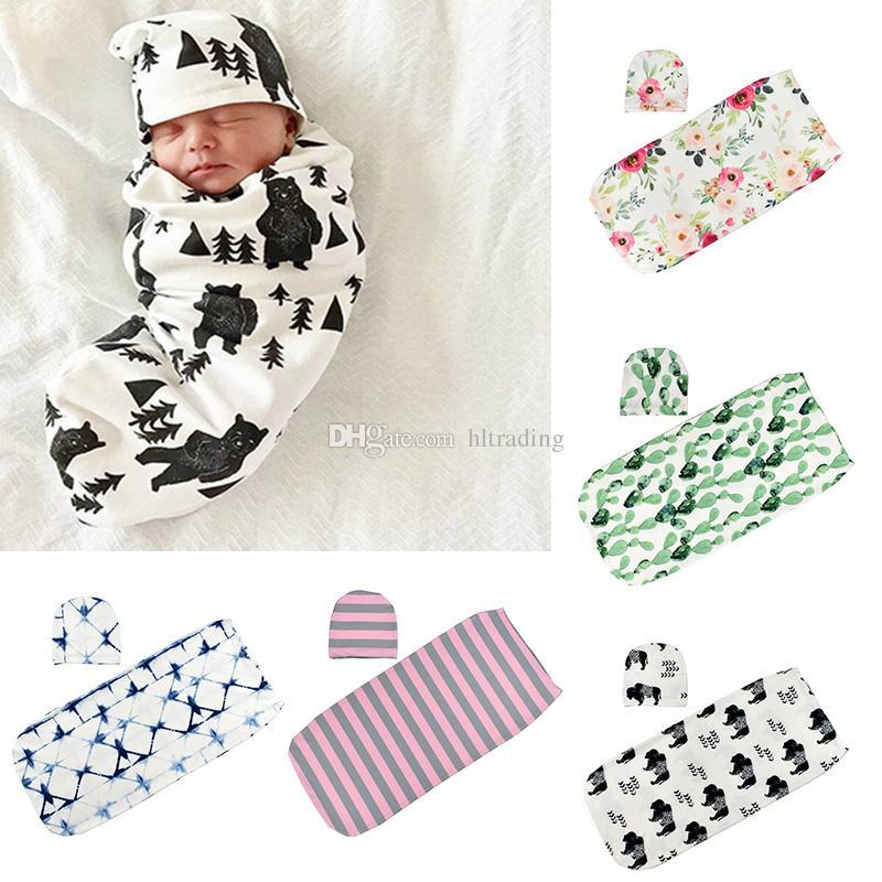 Baby Sleeping Bags Hats INS Toddler Swaddles Caps Newborn Cartoon Dinosaur Sleep Sacks Shark Flowers Printed Cocoon Swaddling Blanket M094