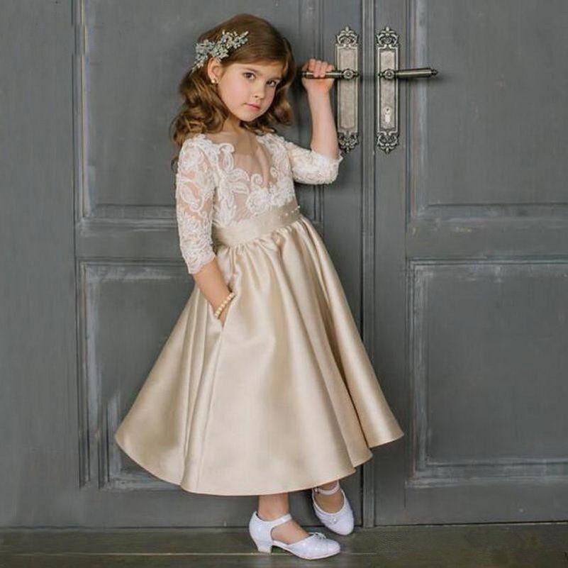Yeni Çiçek Kız Elbiseler Sheer Boyun Vintage Dantel Aplikler Illusion 34 Kollu Saten Ayak Bileği Uzunluk Kızlar Örgün Önlük