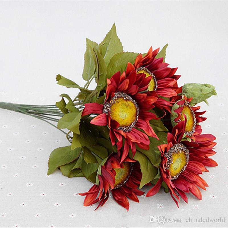 브랜드 뉴 1 꽃다발 13 머리 레트로 유럽 스타일 유화 기분 붉은 해바라기 인공 꽃 50CM