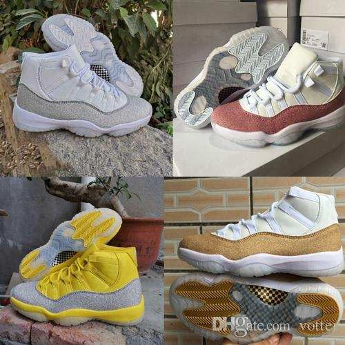 Jumpman 11 XI Purple Light Star White Gold Yellow Metallic Silver Mens Basketball Shoes Sport Sneakers Women WMNS 11s Trainers Chaussures