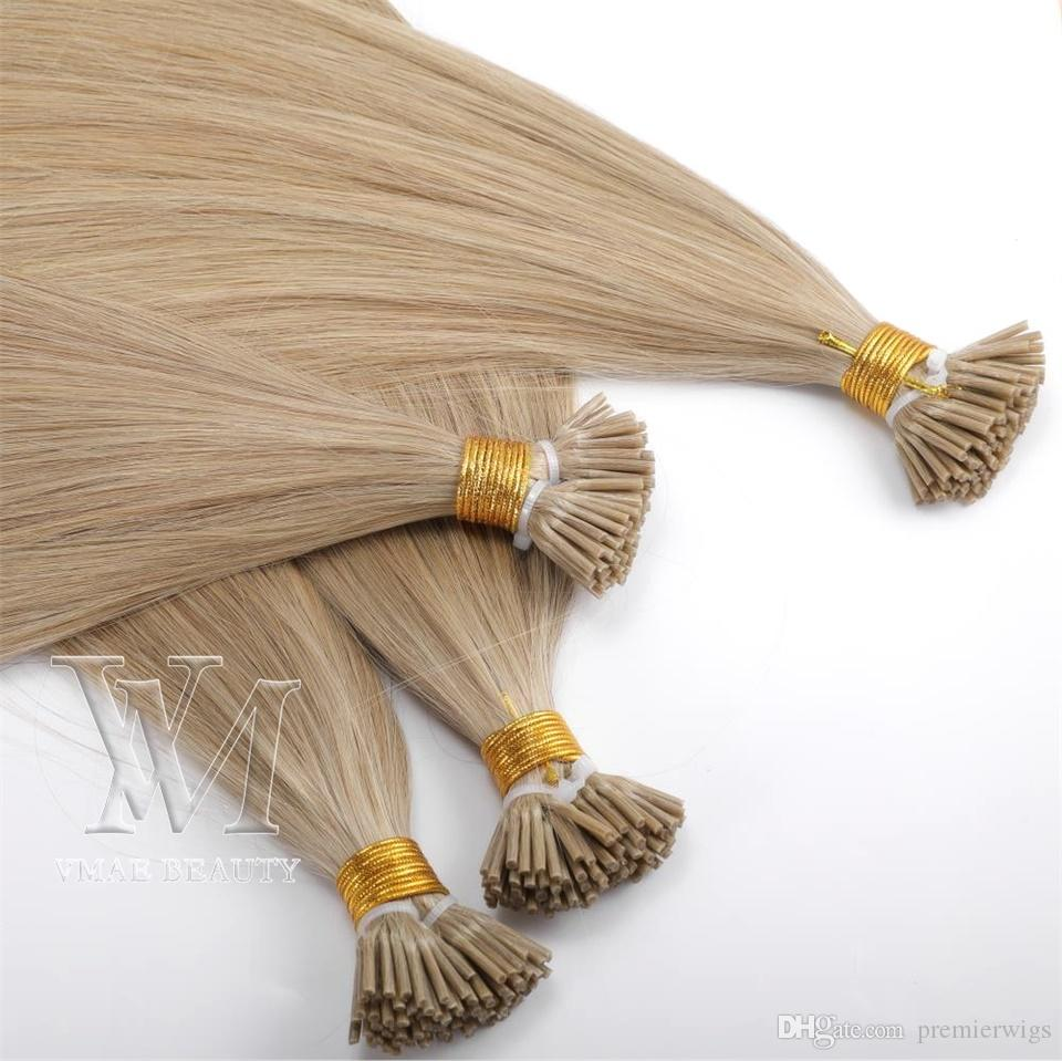 Single Drawn Natural color 0.5g/ strand 100g BrazilianEuropean I tip Human Pre-bonded Virgin Remy Human Straight Keratin Hair Extensions