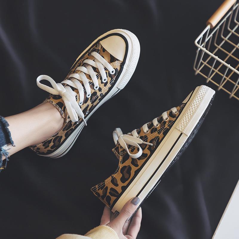 2019 Новый холст обуви с высокой и низкой Leopard Uppers Женской повседневной обувью