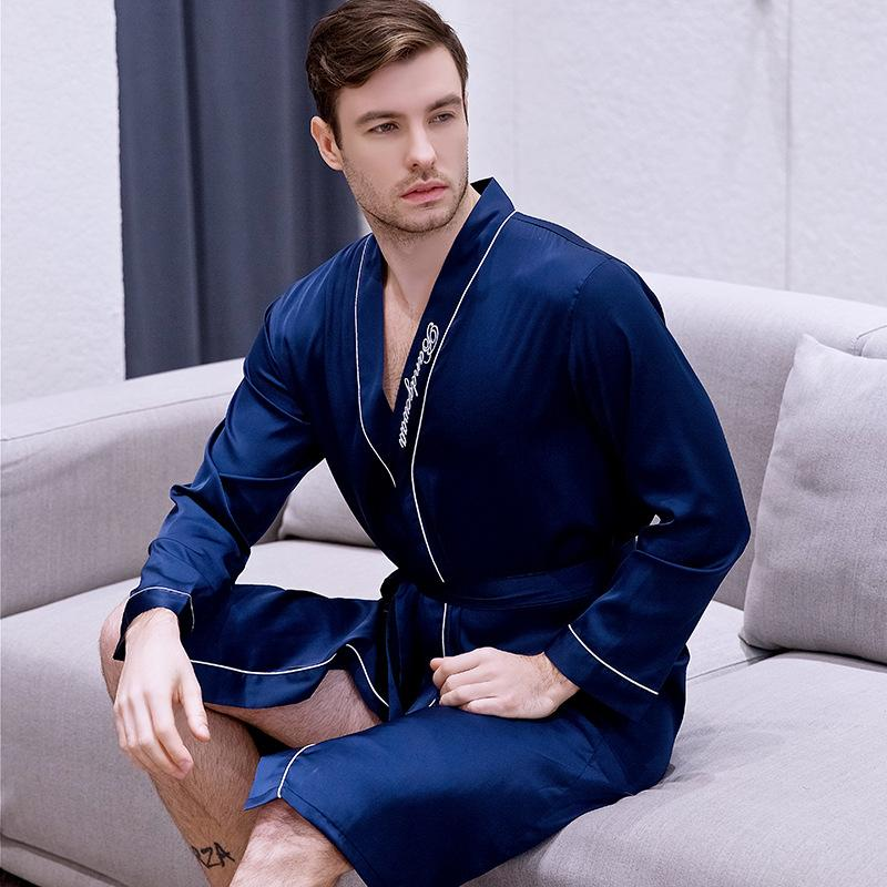 Spring New Men Dressing Gown Long Sleeve Sleepwear Letter Casual Kimono Bathrobe Sexy Groom Groomsman Wedding Robes Nightwear