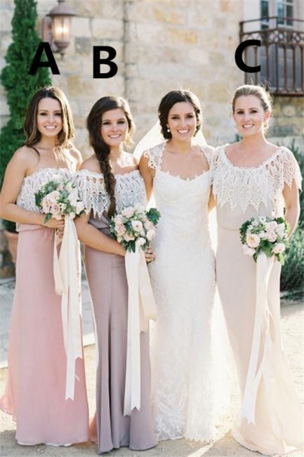 2020 Hot Cheap Scoop Neck Lace Bridesmaid Dresses Sleeveless Floor Length Wedding Guest Party Dresses Prom Dress Vestido Lady Dress