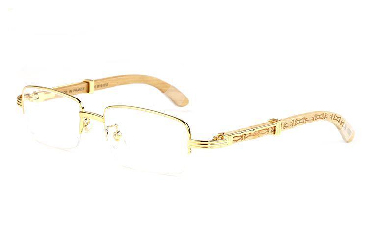 Großhandel-Mode-Marke Sonnenbrille Männer Holzrahmen Gläser Gold Silber Metall Brillen Bambus semi-randlose Brille Lunettes de Soleil