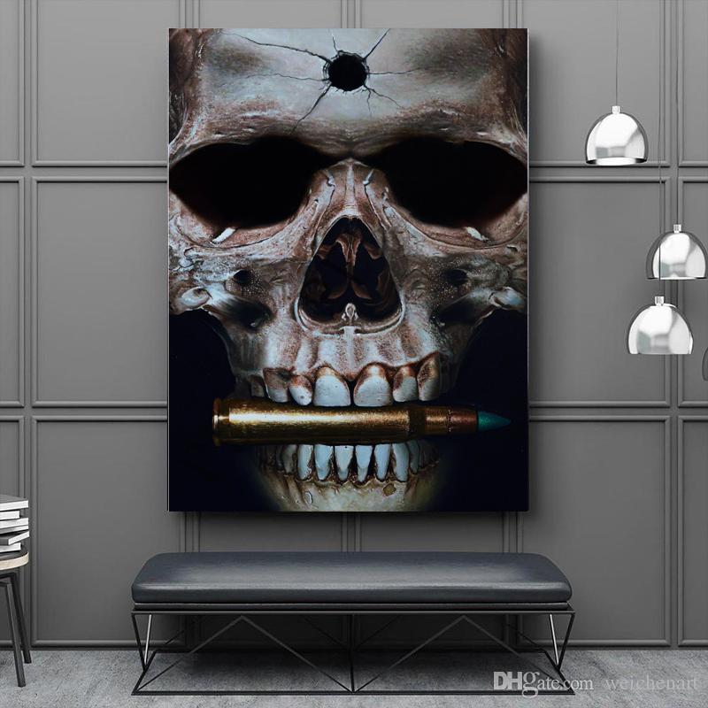 1 панель поп-арт плакат печати череп бит пули настенная живопись картина для гостиной дома декоративные абстрактное искусство картина не обрамлена