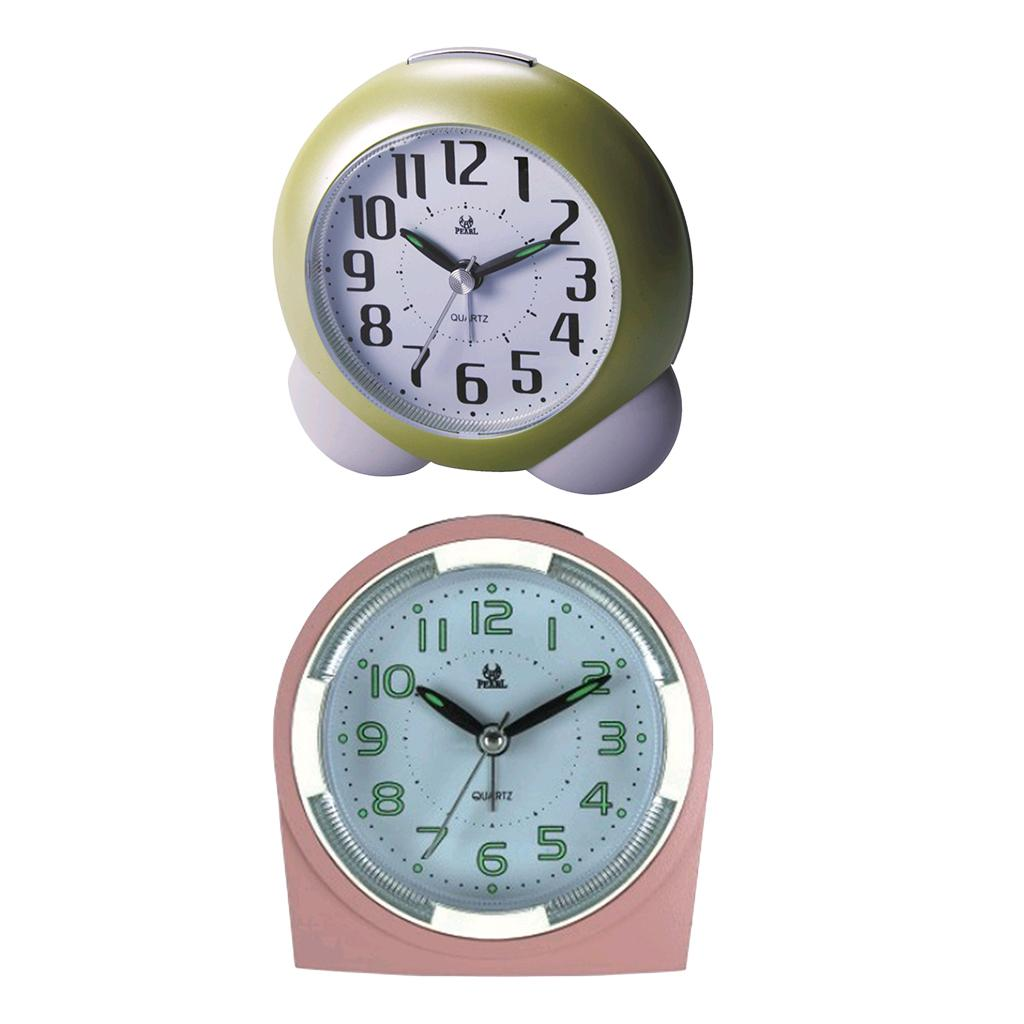 2pcs Night Light Cartoon Horloge de bureau Enfants nuit Réveil Bedroo